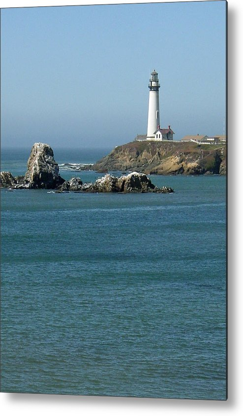 Lighthouse Metal Print featuring the photograph Pigeon Point Lighthouse Near Half Moon Bay-san Francisco by Suzanne Gaff
