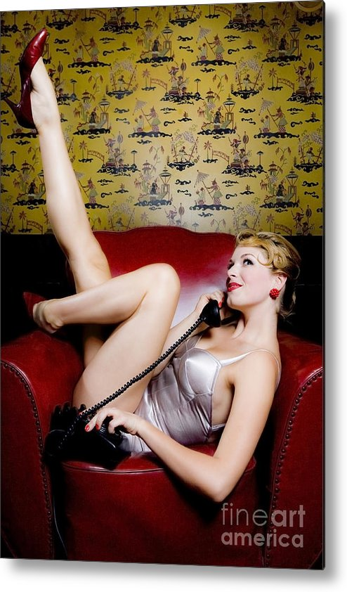 Bathing Suit Metal Print featuring the photograph Pinup Girl With Phone by Diane Diederich