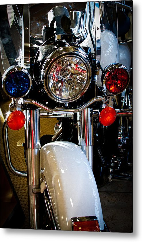 Classic Cycle Metal Print featuring the photograph Police Harley by David Patterson
