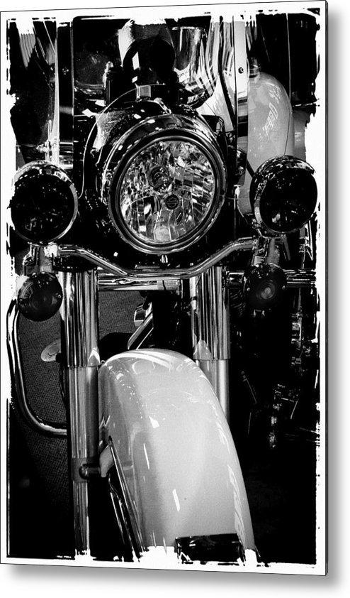 Classic Cycle Metal Print featuring the photograph Police Harley II by David Patterson