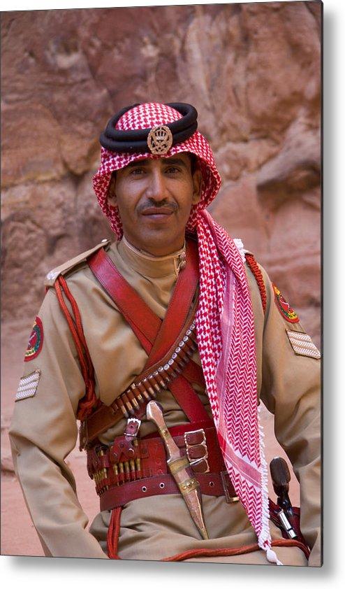 Jordanian Metal Print featuring the photograph Policeman In Petra Jordan by David Smith