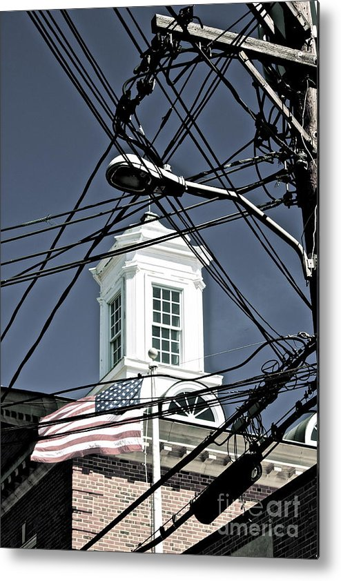 America Village Old Town Wired Flag Church Steeple Architecture Windows Town Hall Massachusetts Vacation Ptown Historic Old Usa Patriotic Metal Print featuring the photograph Provincetown Ma by Deborah Talbot - Kostisin