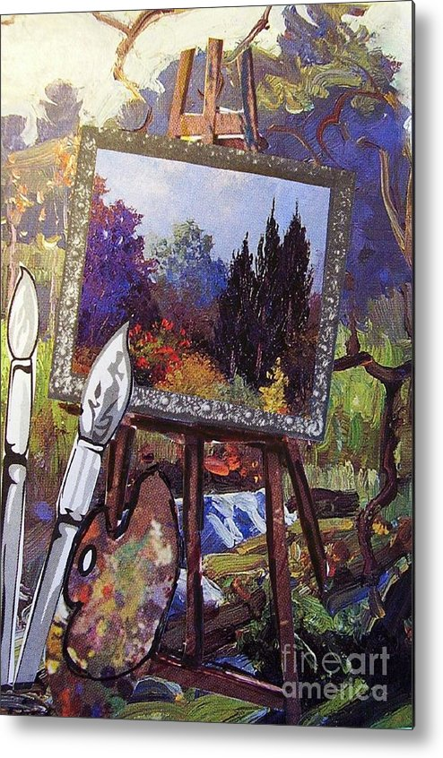Easel Metal Print featuring the painting Put Color In Your Life by Eloise Schneider Mote