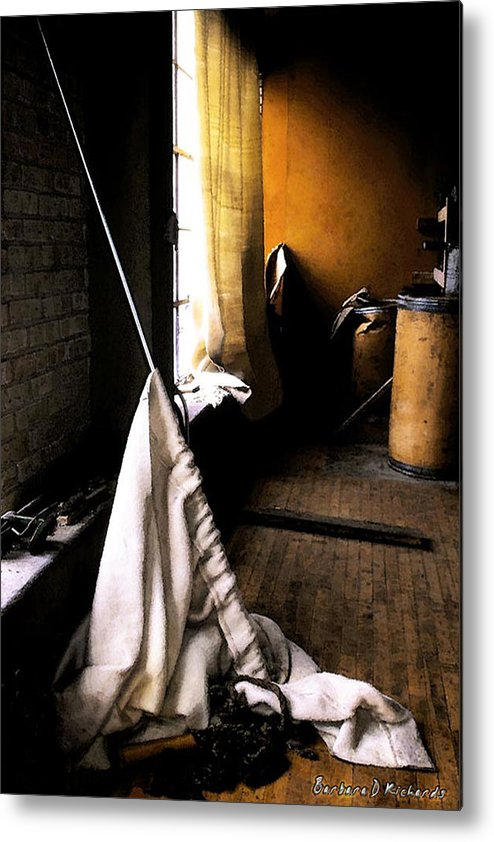 Curtain Metal Print featuring the photograph Recently Evicted by Barbara D Richards