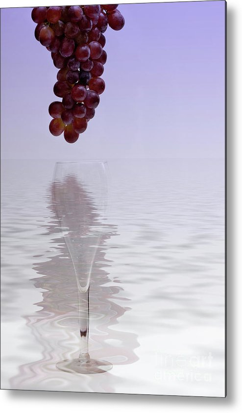 Bunch Metal Print featuring the photograph Red Grapes Wine Glass Fantasy by Linda Matlow