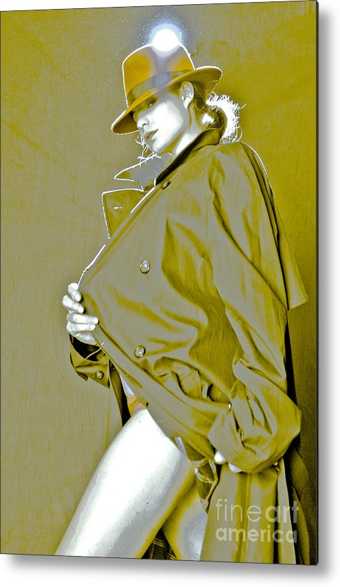 Natalia Metal Print featuring the photograph Red Hat And Trenchcoat by Scott Sawyer