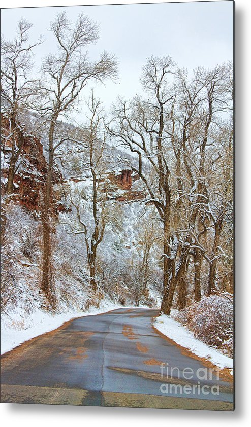 Winter Metal Print featuring the photograph Red Rock Winter Road Portrait by James BO Insogna