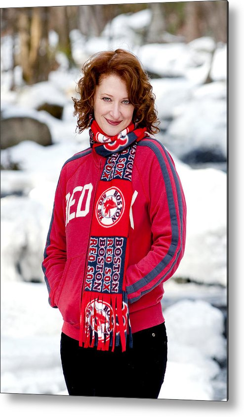 City Metal Print featuring the photograph Red Sox Girl by Greg Fortier