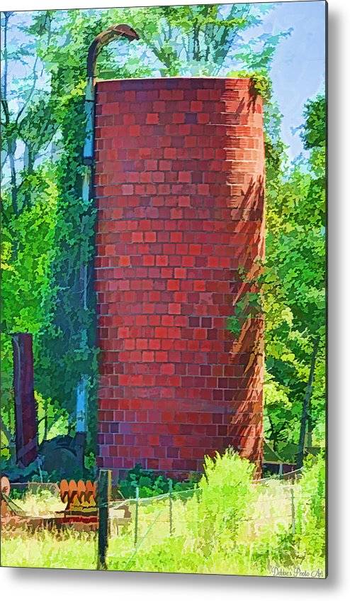 Agriculture Metal Print featuring the photograph Red Tile Silo Digital Paint by Debbie Portwood