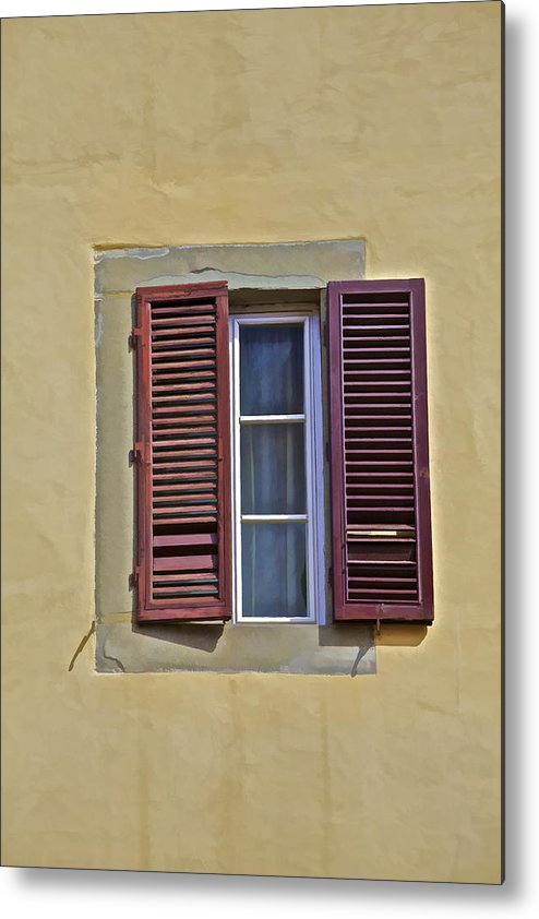 Architecture Metal Print featuring the photograph Red Window Shutters Of Florence by David Letts
