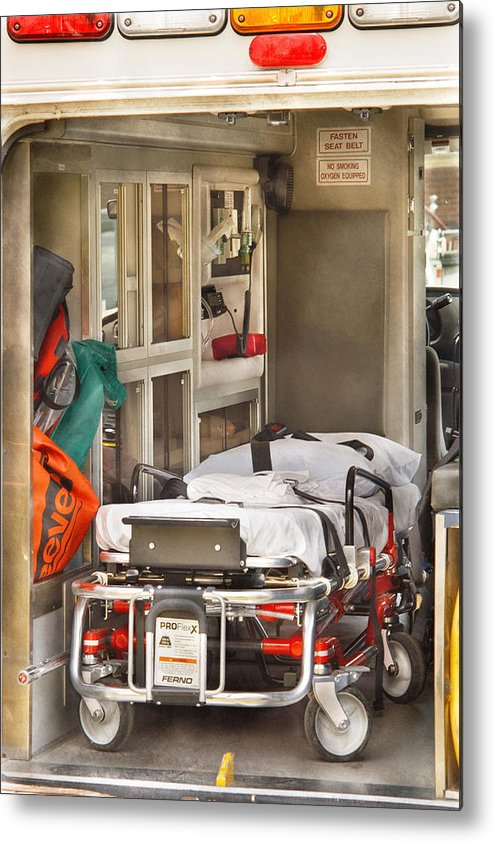 Savad Metal Print featuring the photograph Rescue - Inside The Ambulance by Mike Savad