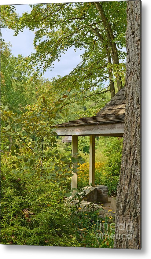 Woods Metal Print featuring the digital art Retreat by Eva Kaufman