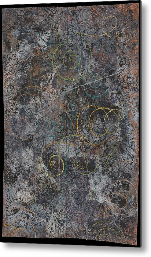 Sub-atomic Metal Print featuring the painting Revelations Vi--space Time Brocade by Fred Chuang