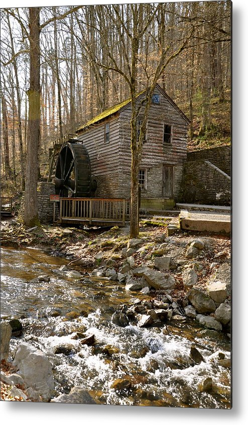 Rice Grist Mill And Threshing Barn In Norris Dam State Park Trail Beautiful Pond Water Tree Old View Nature Metal Print featuring the photograph Rice Grist Mill And Threshing Barn by Sunny Phillips