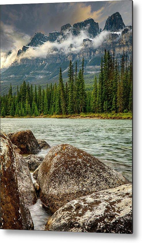 River Sweeps By Under Mountain Range Metal Print