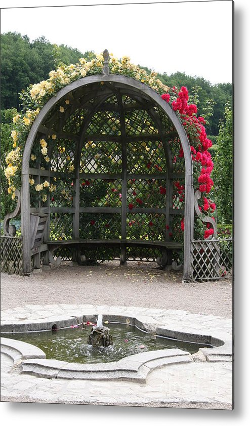 Roses Metal Print featuring the photograph Rose Pavilion At Chateau Villandry by Christiane Schulze Art And Photography