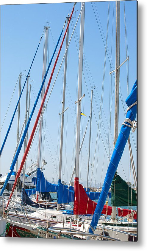 Sailing Metal Print featuring the photograph Sailboat Masts by Artist and Photographer Laura Wrede