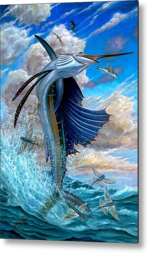 Sailfish Metal Print featuring the painting Sailfish And Flying Fish by Terry Fox