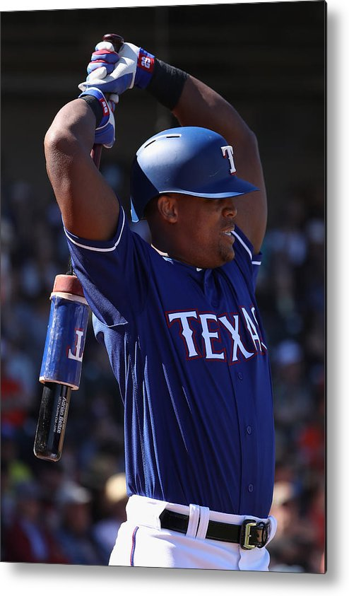Adrian Beltre Metal Print featuring the photograph San Francisco Giants V Texas Rangers by Christian Petersen