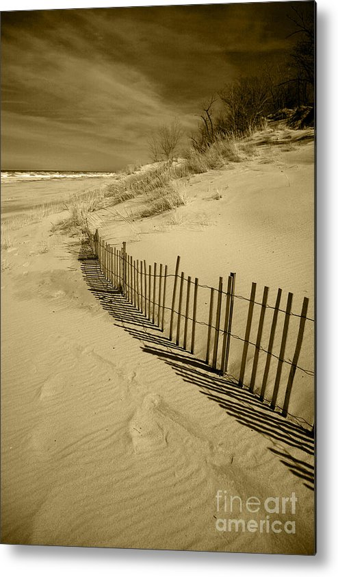 Sand Dunes Metal Print featuring the photograph Sand Dunes And Fence by Timothy Johnson