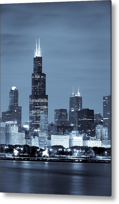 Chicago Skyline Metal Print featuring the photograph Sears Tower In Blue by Sebastian Musial