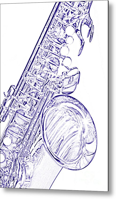 Tenor Sax Metal Print featuring the photograph Sepia Tone Drawing Of A Tenor Saxophone 3356.03 by M K Miller
