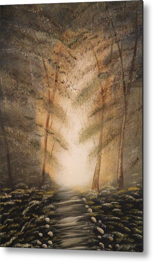 Into The Woods Metal Print featuring the painting Sepia Woods by Victor Alderson