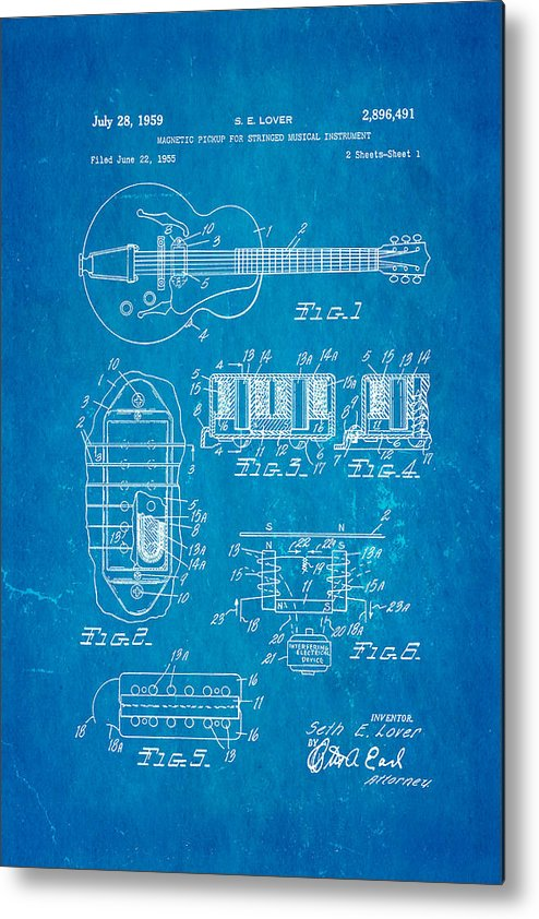famous metal print featuring the photograph seth lover gibson humbucker  pickup patent art 1959 blueprint by