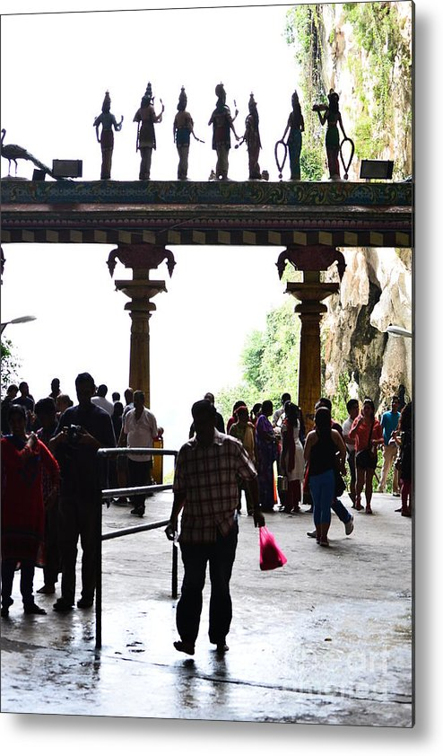 Shadow People Tourists Malaysia Buddhist Temple Caves Statues Crowd Metal Print featuring the photograph Shadow People by Stephen Holland