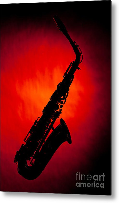 Alto Sax Metal Print featuring the photograph Silhouette Photograph Of An Alto Saxophone 3357.02 by M K Miller