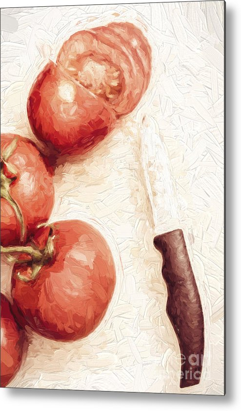 Knife Metal Print featuring the digital art Sliced Tomatoes. Vintage Cooking Artwork by Jorgo Photography - Wall Art Gallery