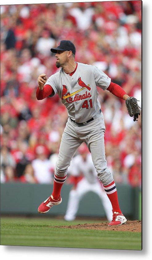 Great American Ball Park Metal Print featuring the photograph St. Louis Cardinals Vs. Cincinnati Reds by John Grieshop