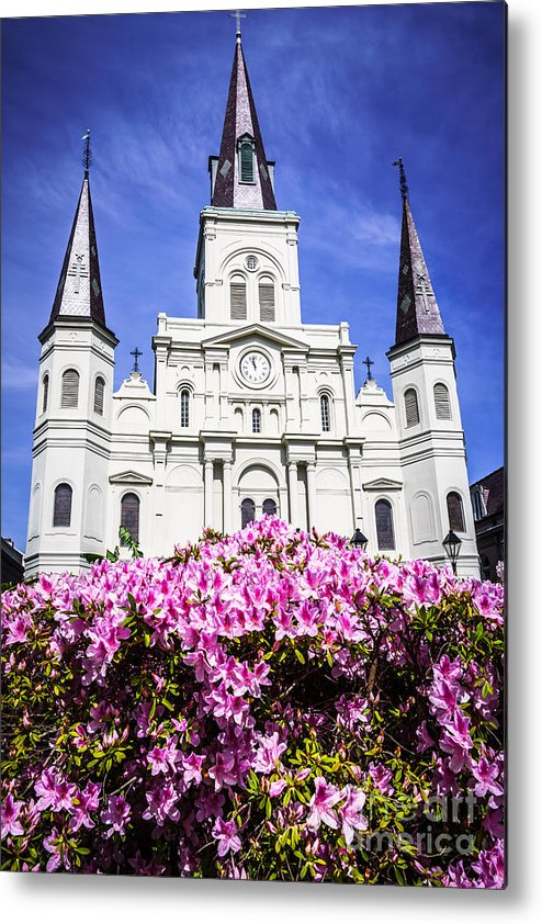 America Metal Print featuring the photograph St. Louis Cathedral And Flowers In New Orleans by Paul Velgos