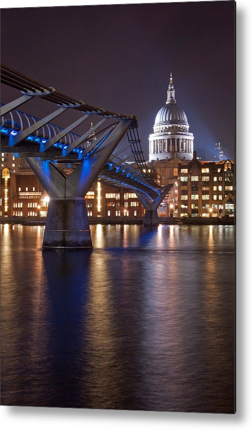St Pauls Metal Print featuring the photograph St Pauls And Millennium Bridge by Martin Richardson