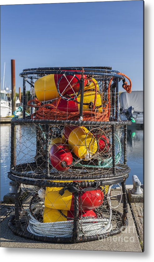 Charleston Marina Metal Print featuring the photograph Stack Of Crab Pots by Bryan Mullennix