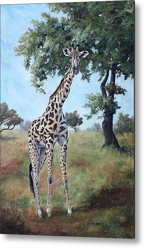 Giraffe Metal Print featuring the painting Standing Tall by Brenda Thour
