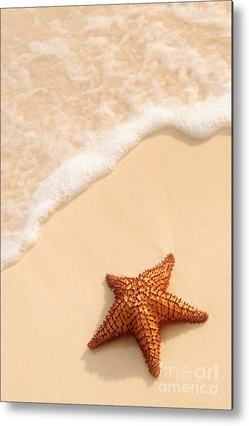 Starfish Metal Print featuring the photograph Starfish And Ocean Wave by Elena Elisseeva