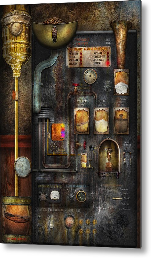 Steampunk Metal Print featuring the digital art Steampunk - All That For A Cup Of Coffee by Mike Savad