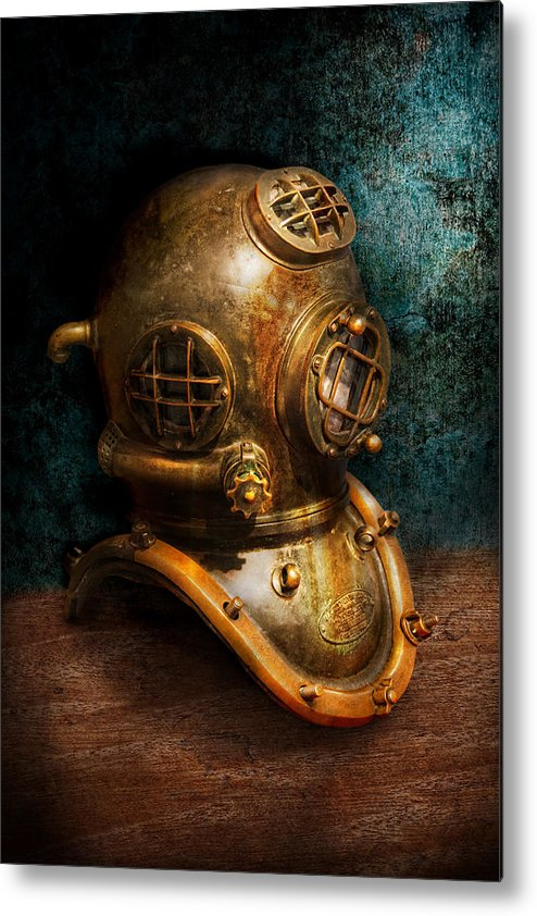 Hdr Metal Print featuring the photograph Steampunk - Diving - The Diving Helmet by Mike Savad