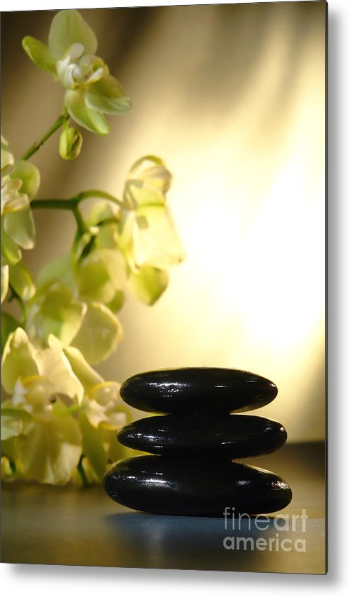 Orchid Metal Print featuring the photograph Stone Cairn And Orchids by Olivier Le Queinec