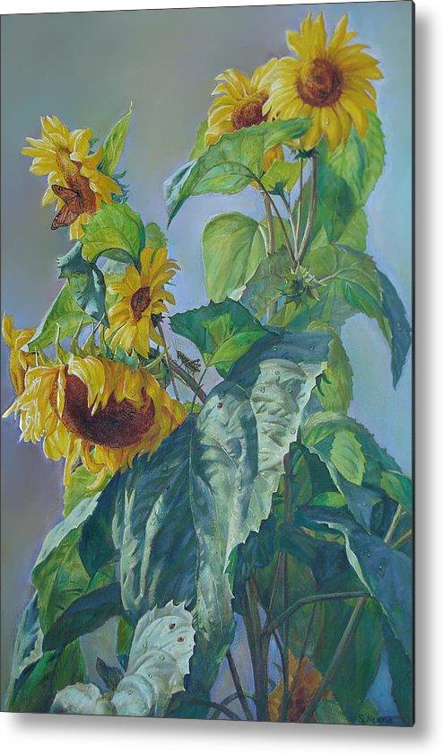 Sunflower Metal Print featuring the painting Sunflowers After The Rain by Svitozar Nenyuk