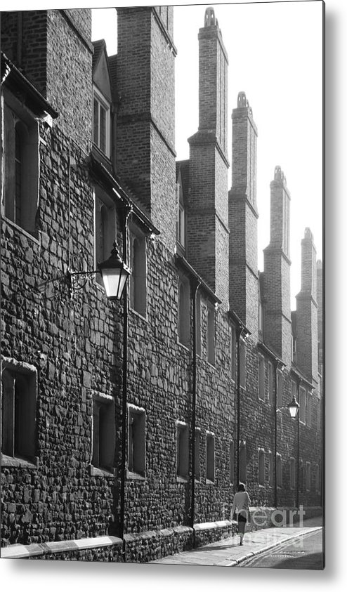 Cambridge Woman Walking Morning Misty Mist Chimneys Lamps Sunlight Black And White Bw Shadows Metal Print featuring the photograph Tall Chimneys In The Misty Sunlight by Keith Douglas