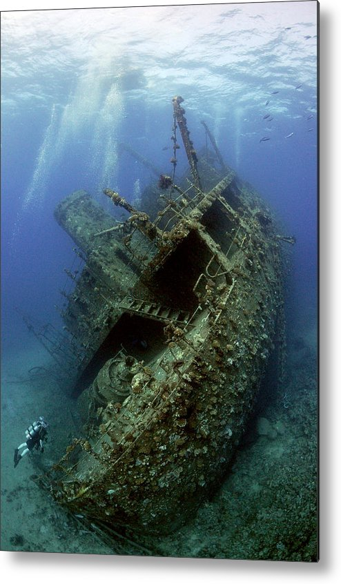 Blue Metal Print featuring the photograph Technical Divers On The Giannis D In The Red Sea Egypt by Dray Van Beeck