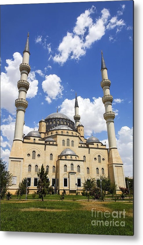 Turkmenistan Metal Print featuring the photograph The Azadi Mosque At Ashgabat In Turkmenistan by Robert Preston