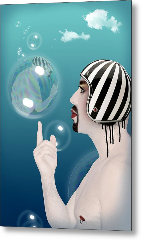 Funny Metal Print featuring the digital art the Bubble man by Mark Ashkenazi