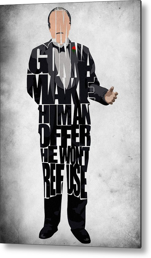 The Godfather Marlon Brando Metal Print featuring the painting The Godfather Inspired Don Vito Corleone Typography Artwork by Ayse Deniz
