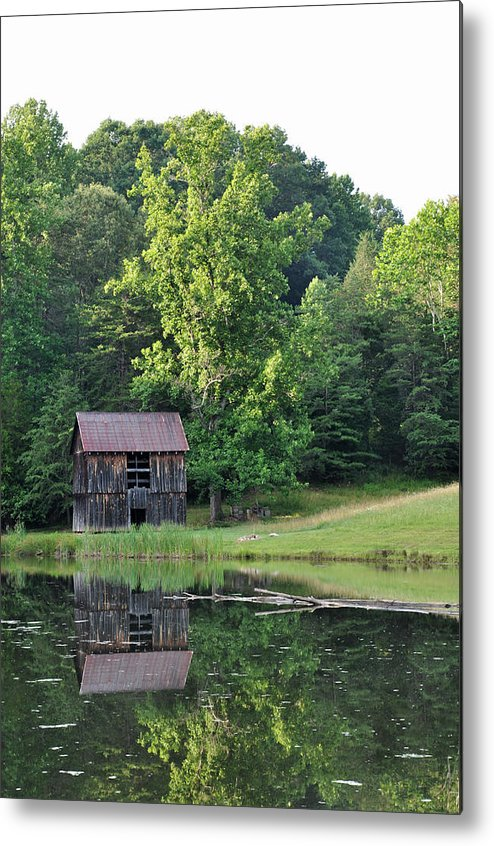 Nature Metal Print featuring the photograph The Old Barn On The Pond by Sherri Quick