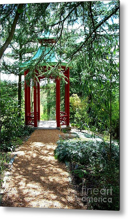 Gazebos Metal Print featuring the photograph Asian Paths No. 29 by Walter Oliver Neal
