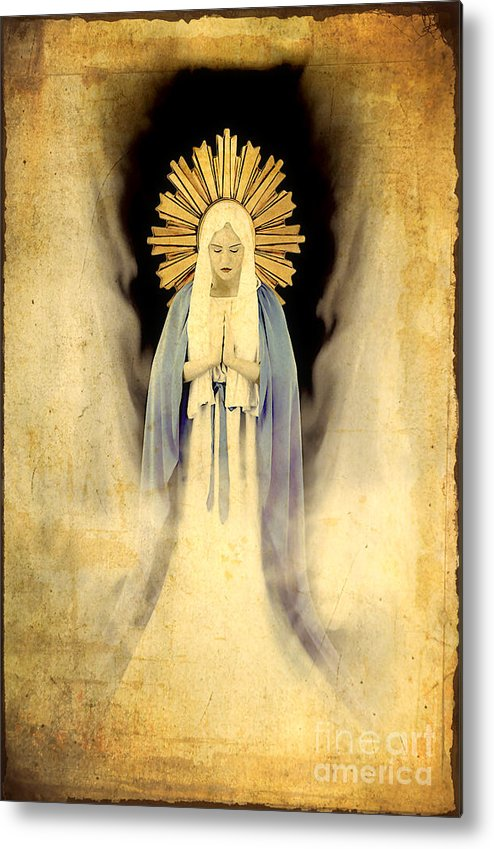 Mary Metal Print featuring the painting The Virgin Mary Gratia Plena by Cinema Photography