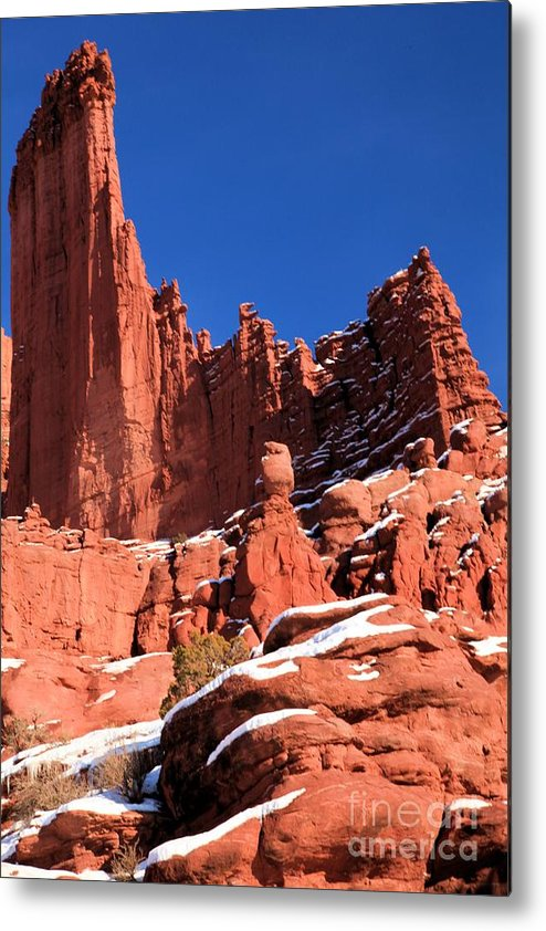Fisher Towers Metal Print featuring the photograph Towers In The Sky by Adam Jewell